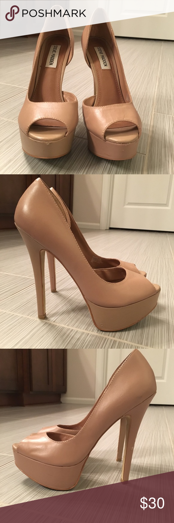 b9b156a2d85 Steve Madden Admirre Perfect go-to nude peep toe pumps. Leather ...
