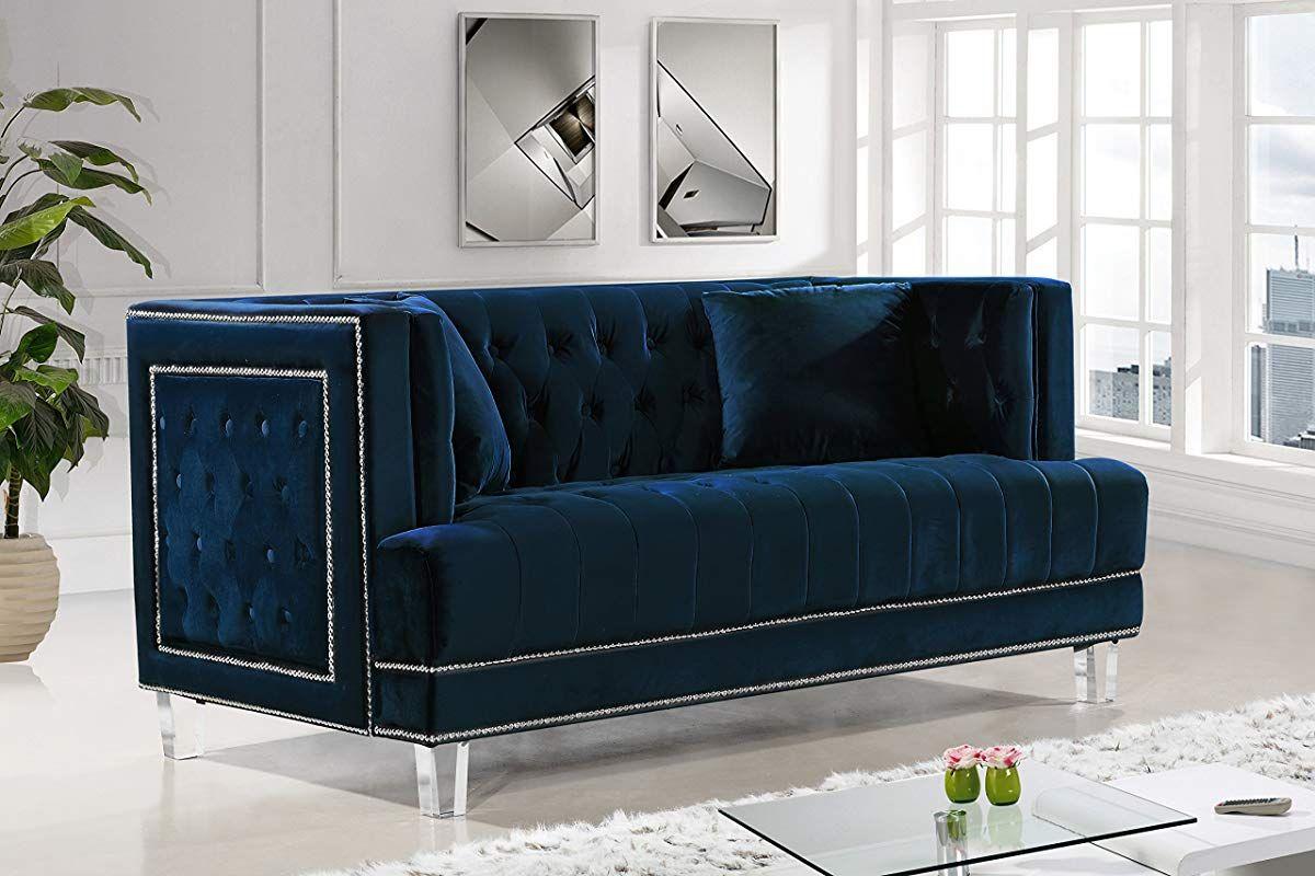 Meridian Furniture 609NavyL Lucas Button Tufted Velvet