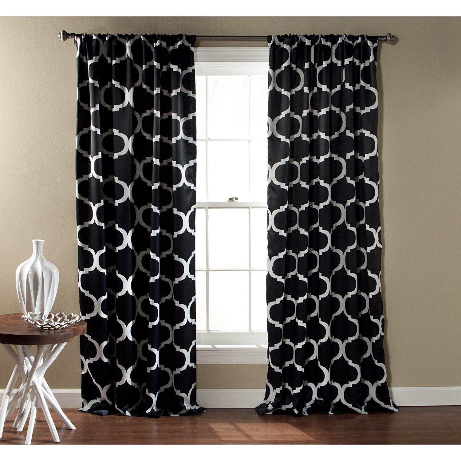 inch bold black white moroccan curtains panel pair set moroccan