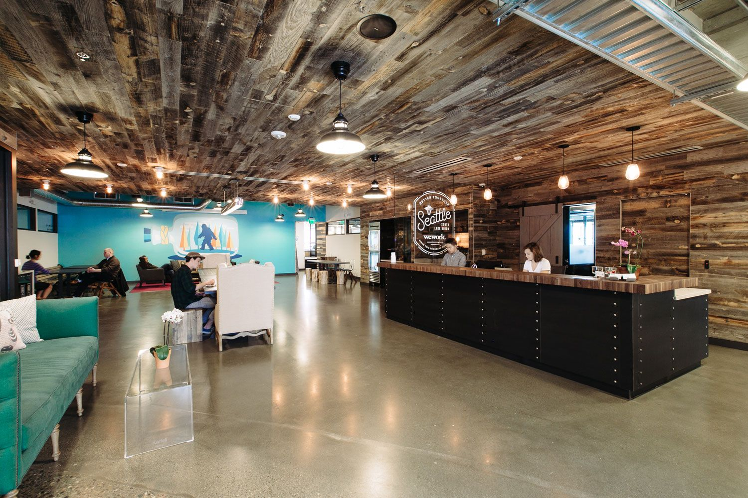 Wework Seattle S South Lake Union Officelovin Interior Architecture Design Weathered Wood Commercial Interior Design