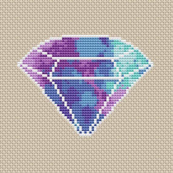 Photo of Diamond cross stitch pattern Modern cross stitch Crystal embroidery Birthstone cross stitch Gemstone Amethyst counted cross stitch chart PDF