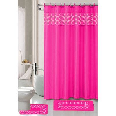 Daniels Bath Charlton Shower Curtain Set Color Hot Pink