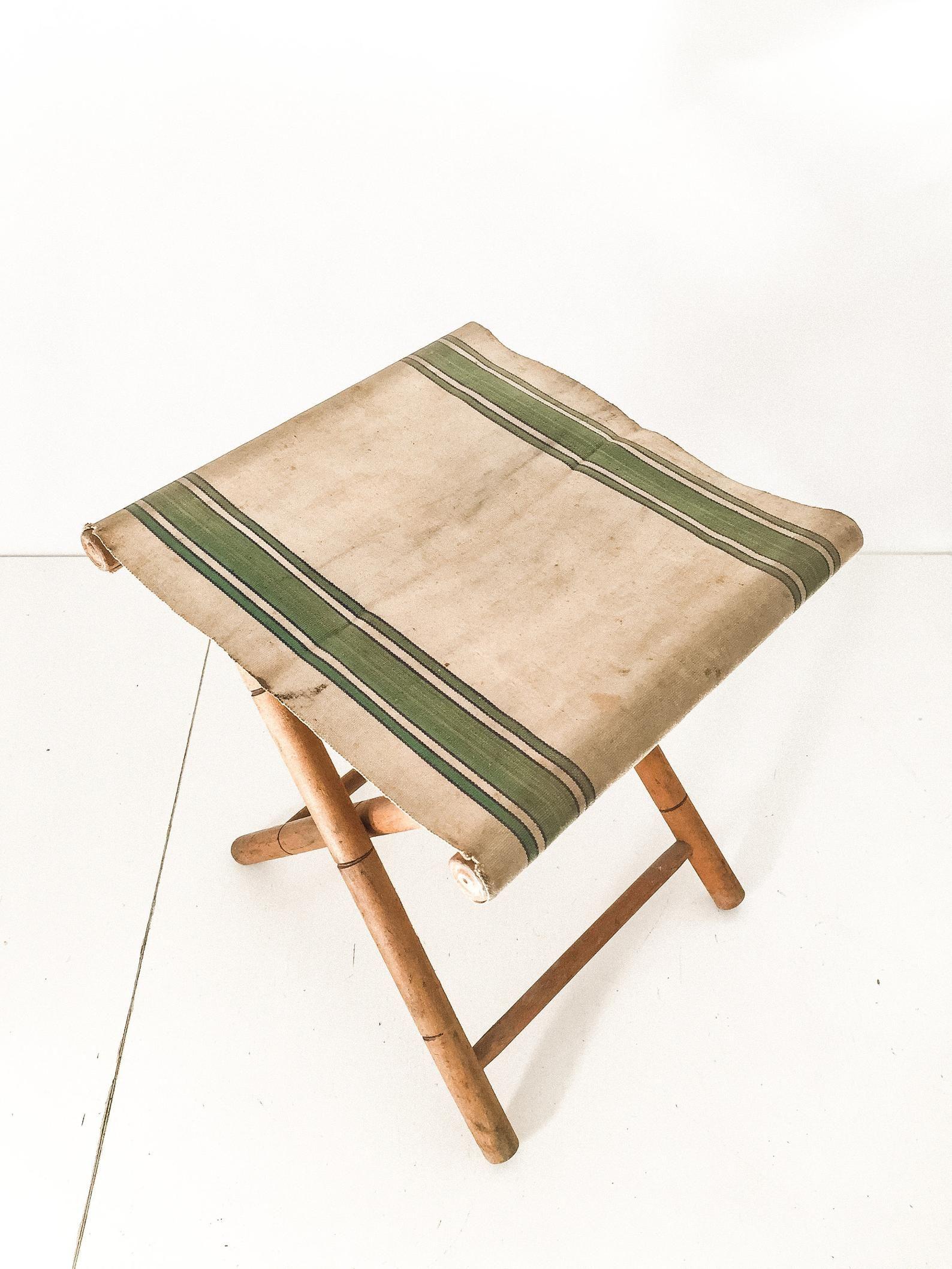 Astonishing Vintage Striped Folding Stool French Wood Canvas Folding Camellatalisay Diy Chair Ideas Camellatalisaycom