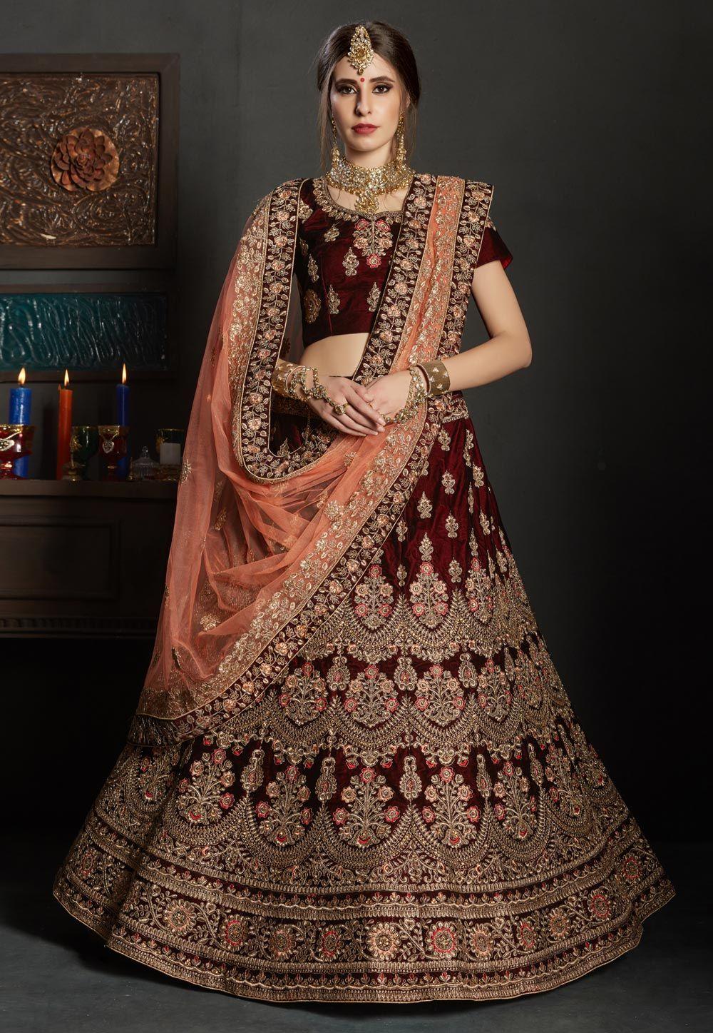 Maroon Velvet Bridal Lehenga Choli 163194 Bridal Lehenga Collection Indian Bridal Outfits Lehenga Collection,Outdoor Stairs Design
