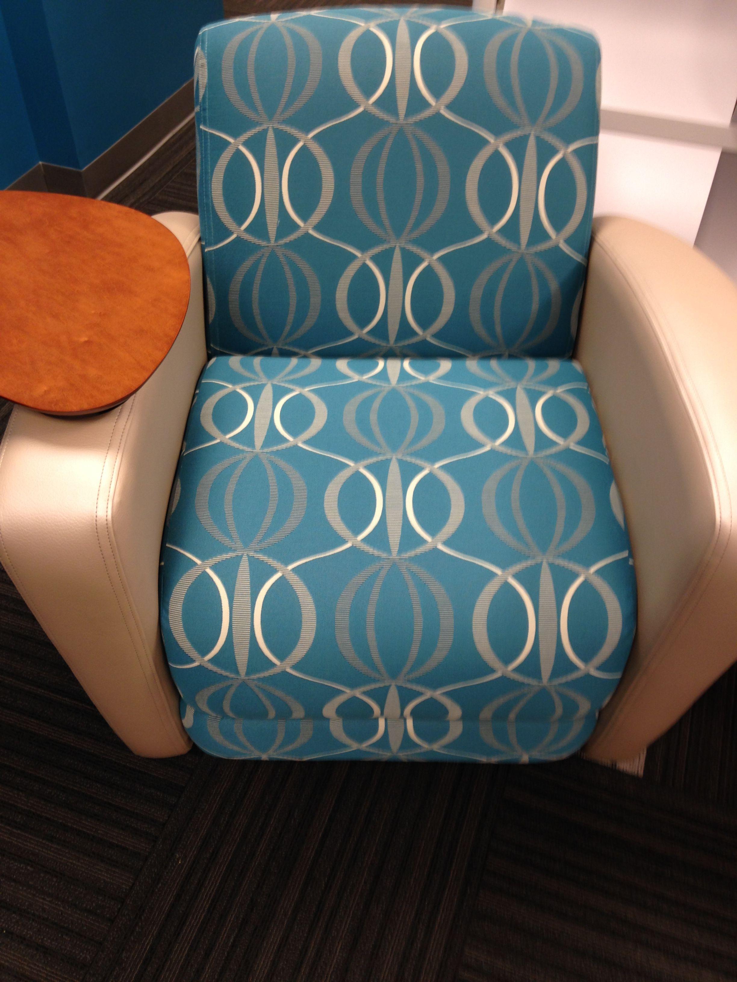 Arc-Com: Spyro Large scale geometric print blue upholstery fabric on National Office Furniture's Reno lounge chair. www.arc-com.com