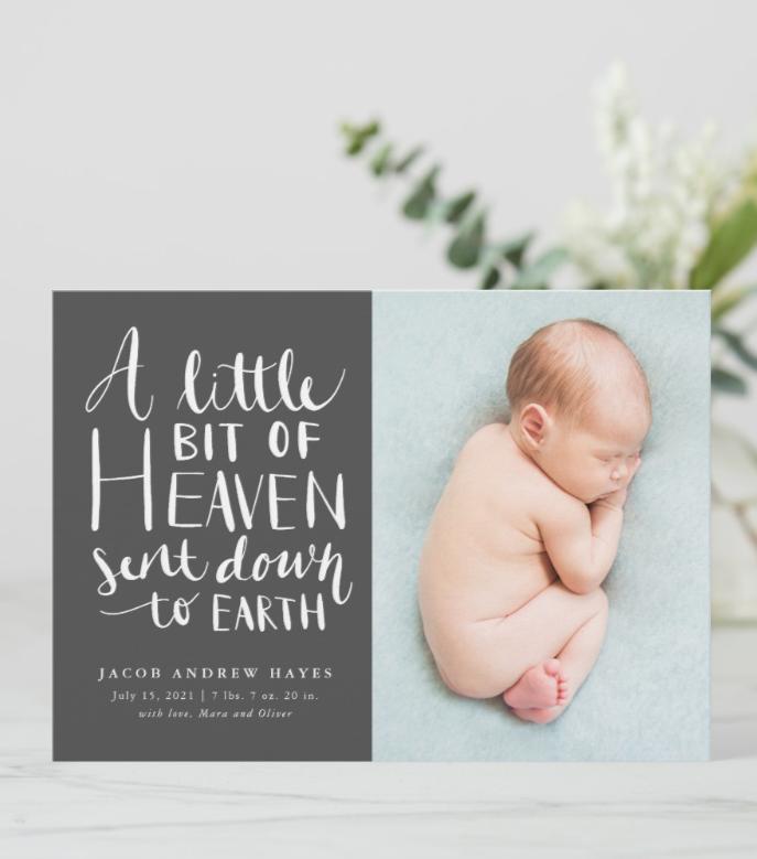 Baby Boy Photo Little Heaven Sent To Earth Birth Announcement Zazzle Com In 2021 Boy Birth Announcement Card Baby Announcement Cards Birth Announcement Boy
