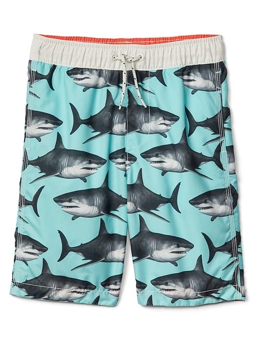 26de248e95 Gap Boys Shark Swim Trunks Bleached Aqua | Products in 2019 | Shark ...