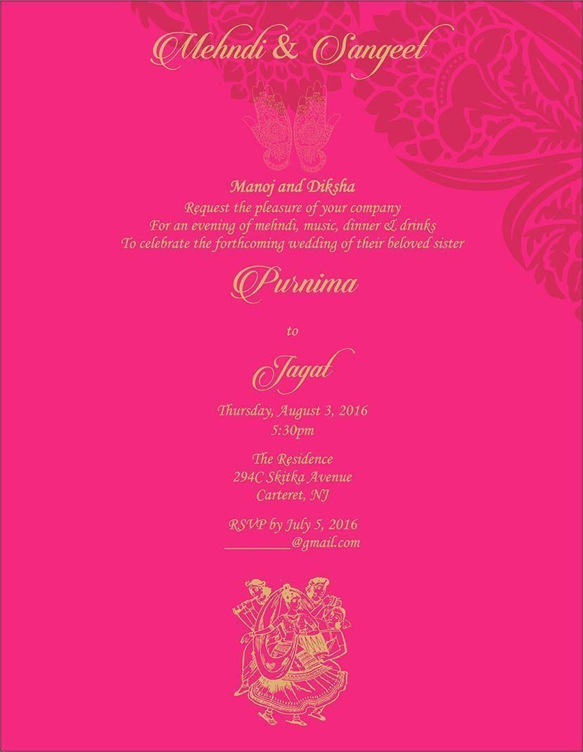 Wedding Invitation Wording For Mehndi Ceremony Invitation Card Format Wedding Card Format Wedding Invitation Cards