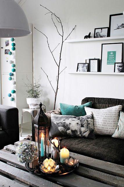 Una sala gris y menta turquesa gris y centros de mesa for Sala gris con turquesa