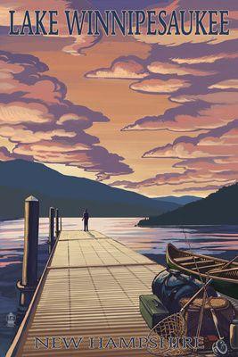 Lake Winnipesaukee New Hampshire Dock Scene At Sunset Lantern Press Poster Lake Art Art Prints Travel Posters