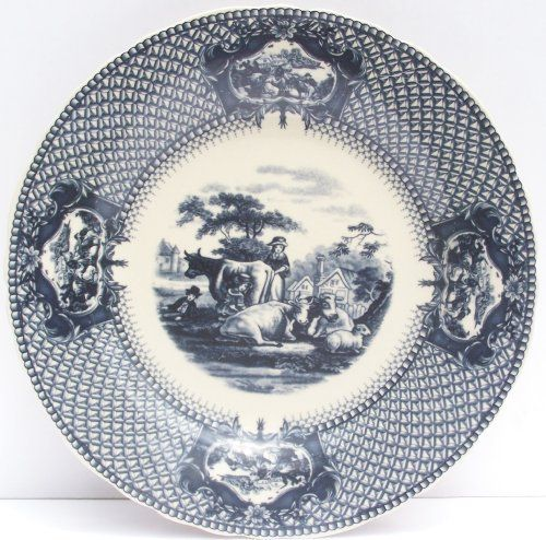 Dinner Plate Blue Toile Farm Cow Scene . $21.00. Gift Wrapping Available $3.99. Boxed  sc 1 st  Pinterest & Dinner Plate Blue Toile Farm Cow Scene . $21.00. Gift Wrapping ...