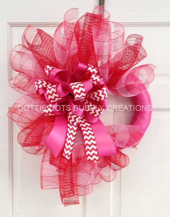 Valentine Wreath Part - 47: Red And Pink Wreaths | Pink U0026 Red Plaid Valentine Spiral Mesh Wreath By  Dottiedot05