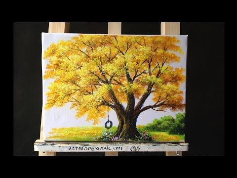 Paint Tulip Flowers With Acrylic Paints And A Palette Knife Basic Acrylic Techniques Episode 7 Yo Fall Tree Painting Tree Painting Acrylic Painting Trees