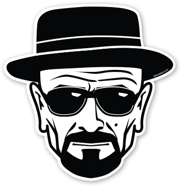 Breaking bad heisenberg walter white illustrated by albert lozoya available through sticker mule