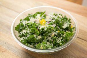 Kale Salad with Lemon-Shallot Vinaigrette, Grana Padana Cheese & Sliced Almonds