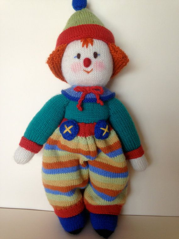 Knitted clown doll, Australian hand made knitted toy. Large traditional knitted clown.
