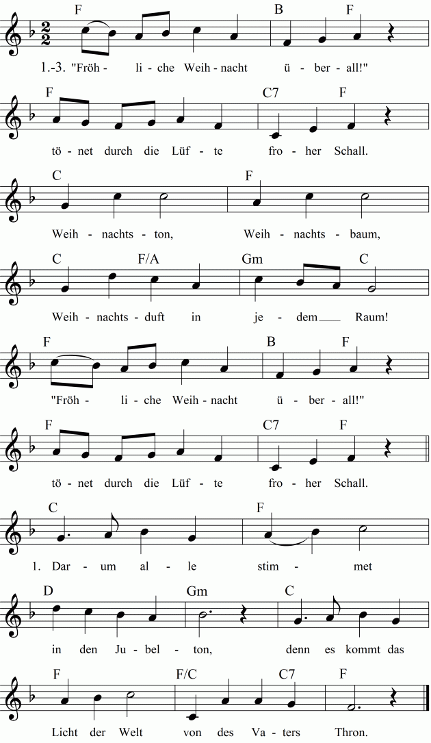 Musiknoten zum Lied Fröhliche Weihnacht überall! | němčina ...