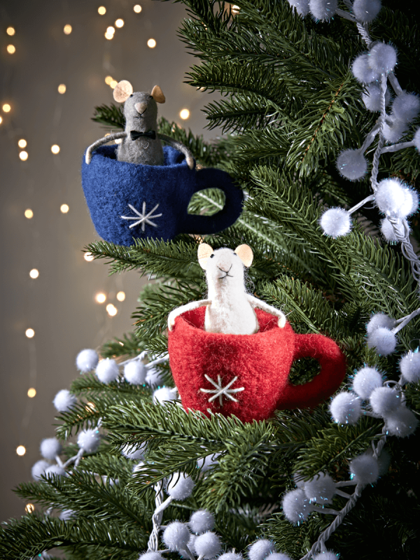 Two Felt Teacup Mice Christmas crafts decorations