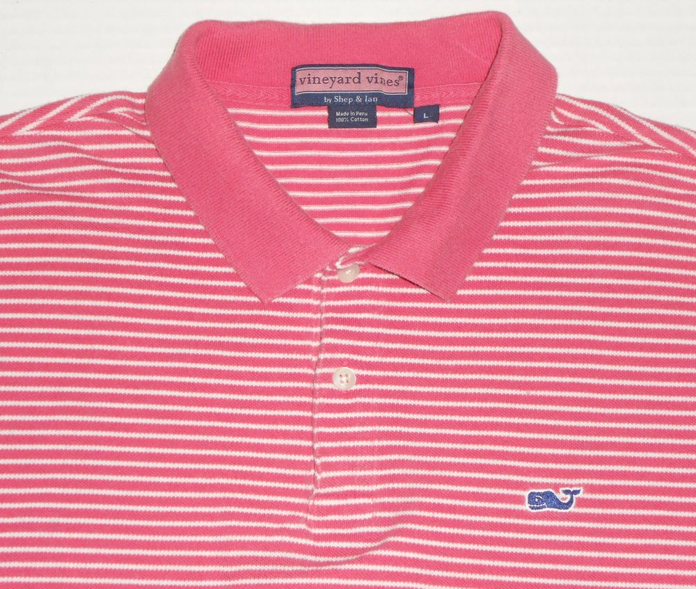 fe90f1377e VINEYARD VINES Men's Pink Striped Ringer Polo Golf Shirt L LARGE Whale Logo  #VineyardVines #PoloRugby