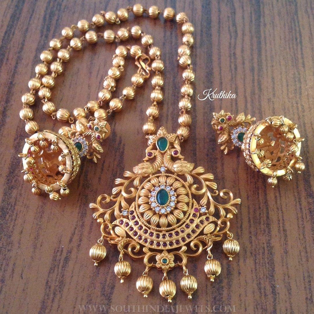 Matt finish antique short necklace from kruthika jewellery short