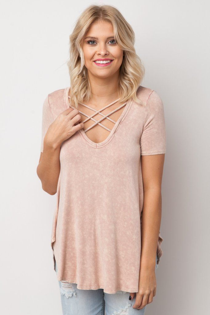 Thinking About You Acid Wash Top in Dusty Pink