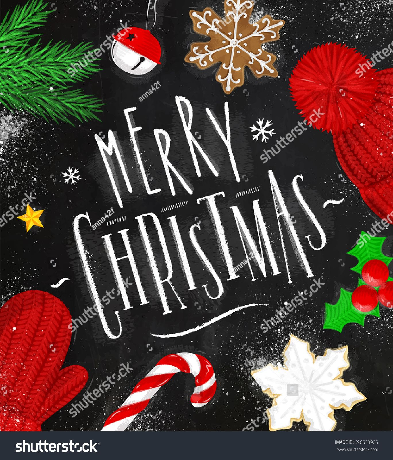 Christmas poster lettering merry christmas drawing in