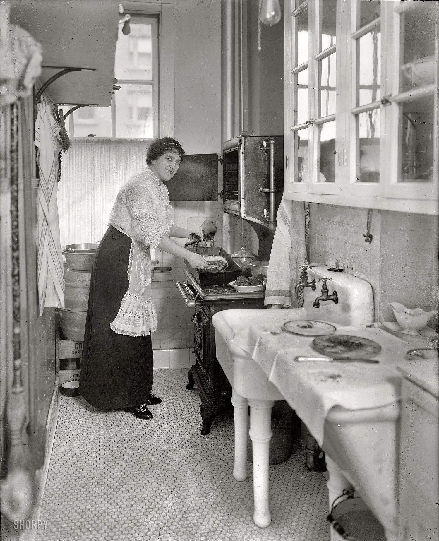 "Vintage Kitchen Photography: Margarete's Kitchen: 1914. March 2, 1914. ""Margarete Ober."" The Metropolitan Opera Mezzo-soprano"