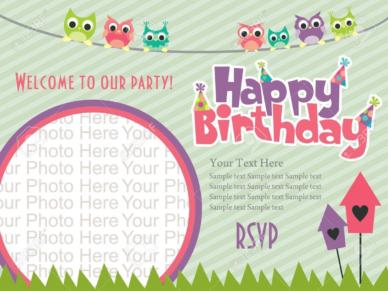 Happy Birthday Invitation Card Design Vector Illustration Royalty For Birthday Invitations Kids Birthday Invitation Card Template Invitation Card Birthday
