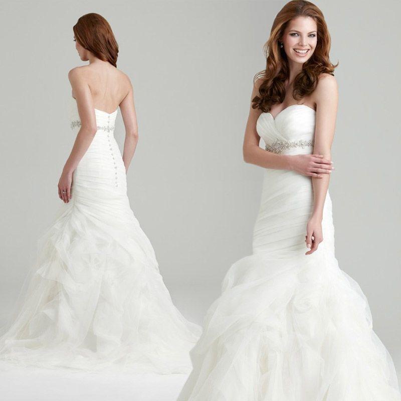 Vera Vang Organza Top Fish Tail Slim Wedding Dress Chest Acrylic Diamond