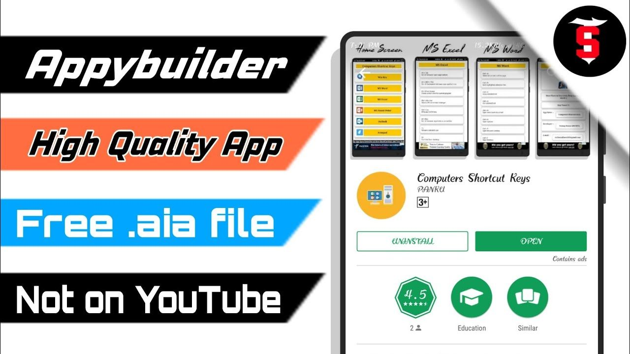 Appybuilde High Quality App .aia file not on youtube