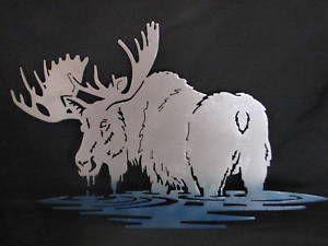Moose In Water Metal Plasma Art Wall Hanging Scrap Metal Art Metal Tree Wall Art Metal Tree