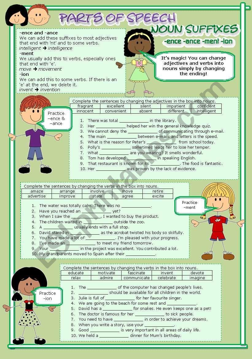Parts Of Speech 11 Noun Suffixes Esl Worksheet By Wendyinhk Parts Of Speech Part Of Speech Noun Word Formation [ 1169 x 821 Pixel ]