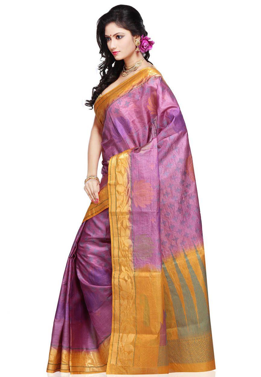 Saree for women wedding buy magenta pure banarasi tussar silk saree with blouse online work
