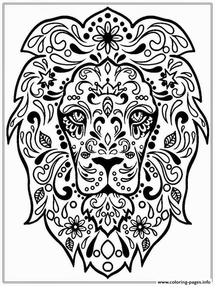 Print Adult Lion Zen coloring pages Free Adults Coloring Pages