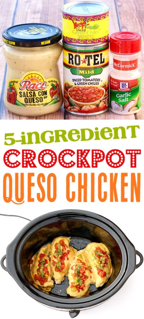 Crock Pot Queso Chicken Recipe! {Just 5 Ingredients} - The Frugal Girls