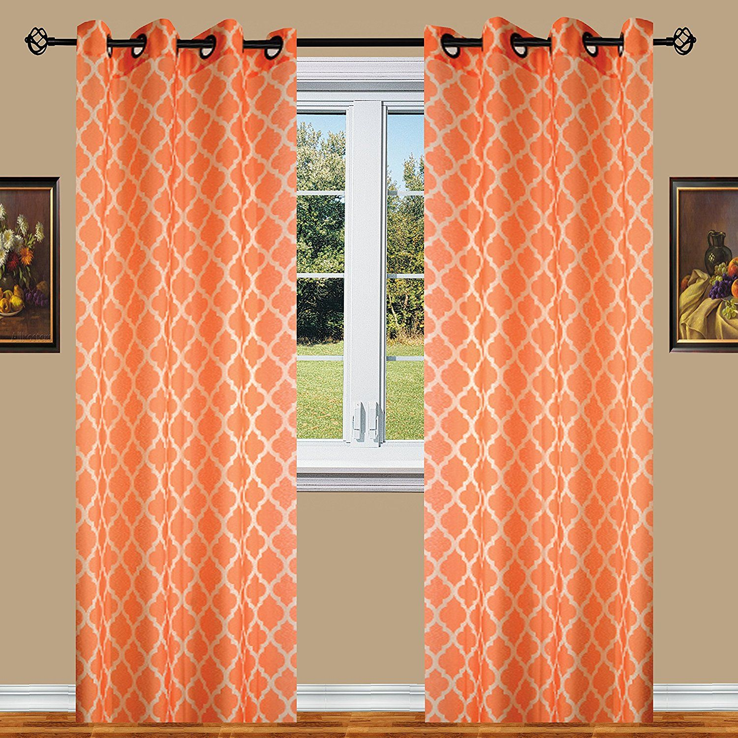 Orange Curtain Panels Orange Elegant Comfort Luxury Sheer Look Printed Grommet Window