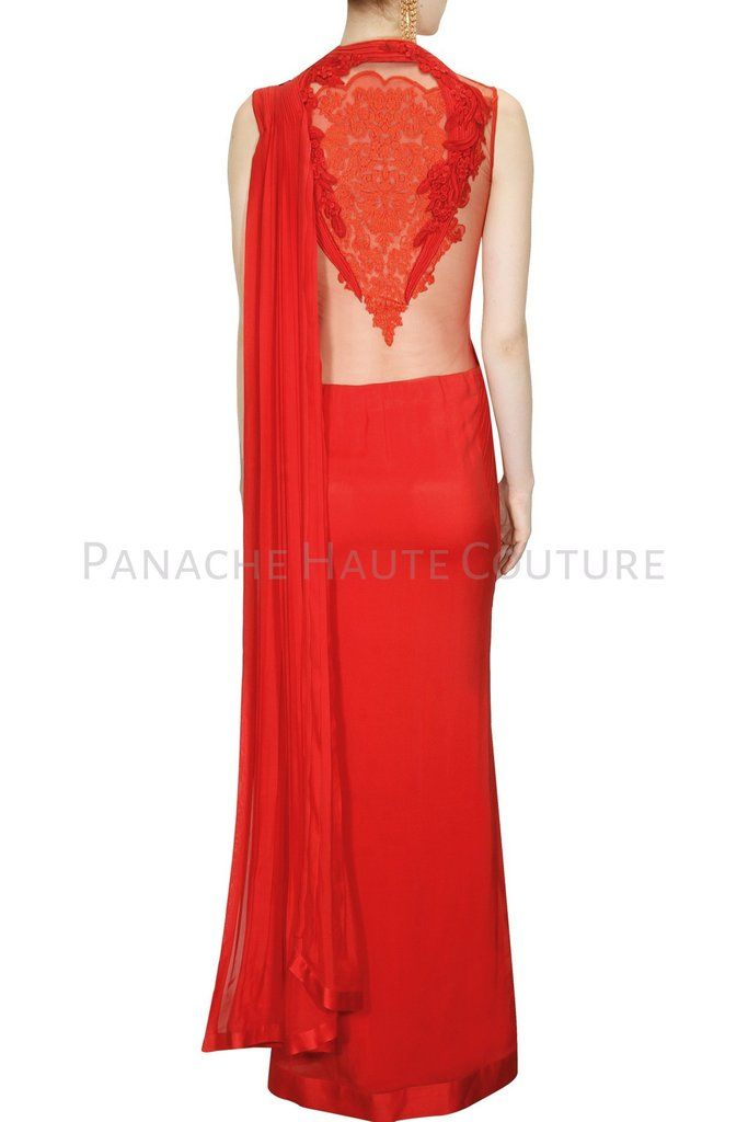 Red Color Designer Saree Gown Online | Red color, Saree and Haute ...