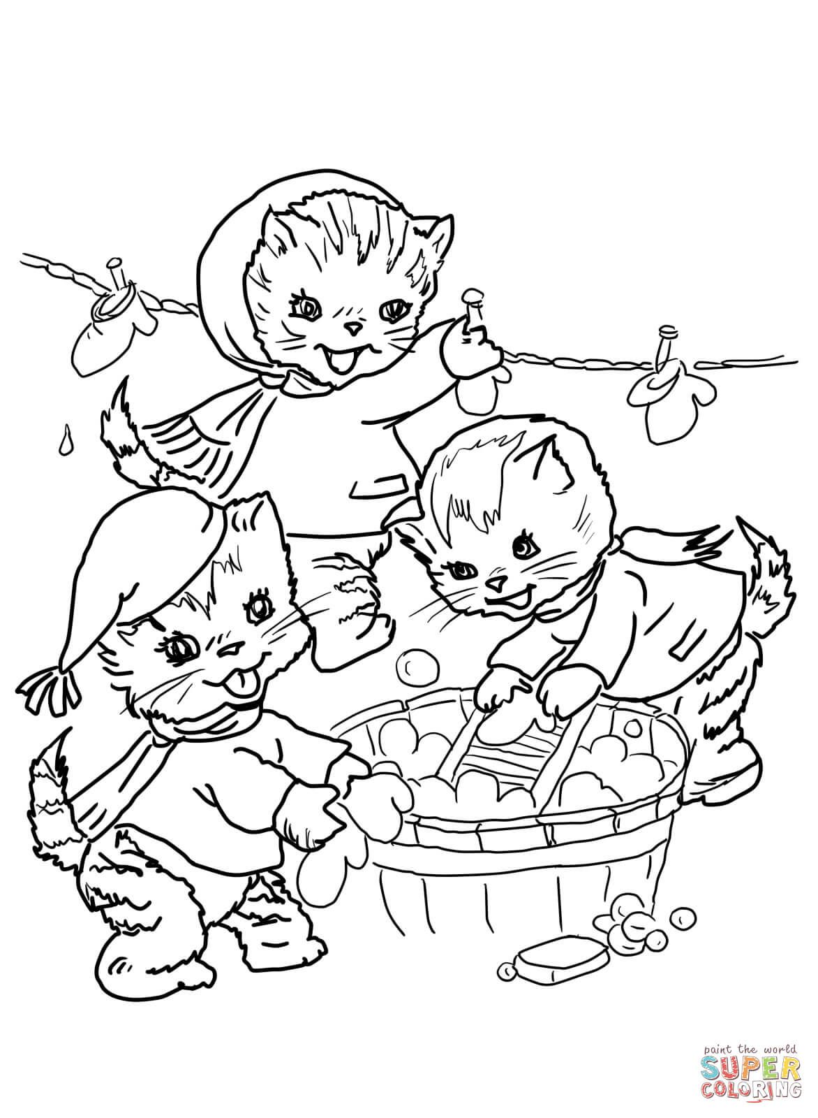 The Three Little Kittens They Washed Their Mittens Super Coloring Kittens Coloring Cat Coloring Page Puppy Coloring Pages