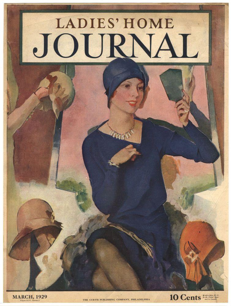 Rare Original Vtg 1929 Trying Hats Ladies Home Journal Lhj Cover Only Art Print Vintage Magazines List Of Artists Vintage Magazine
