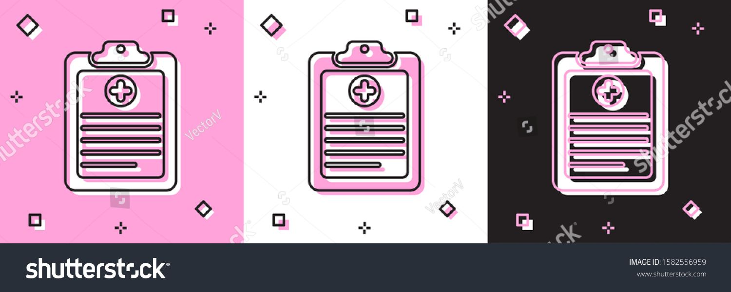 Set Medical Clipboard With Clinical Record Icon Isolated On Pink And White Black Background Health Insurance Form Pres In 2020 Clinic Health Insurance Mother Health