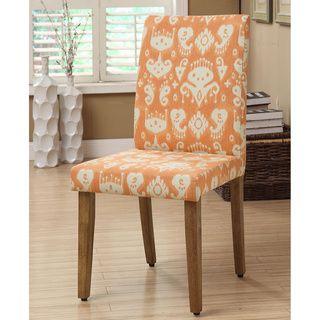Awesome Parson Orange Cream Ikat Damask Dining Chairs Set Of 2