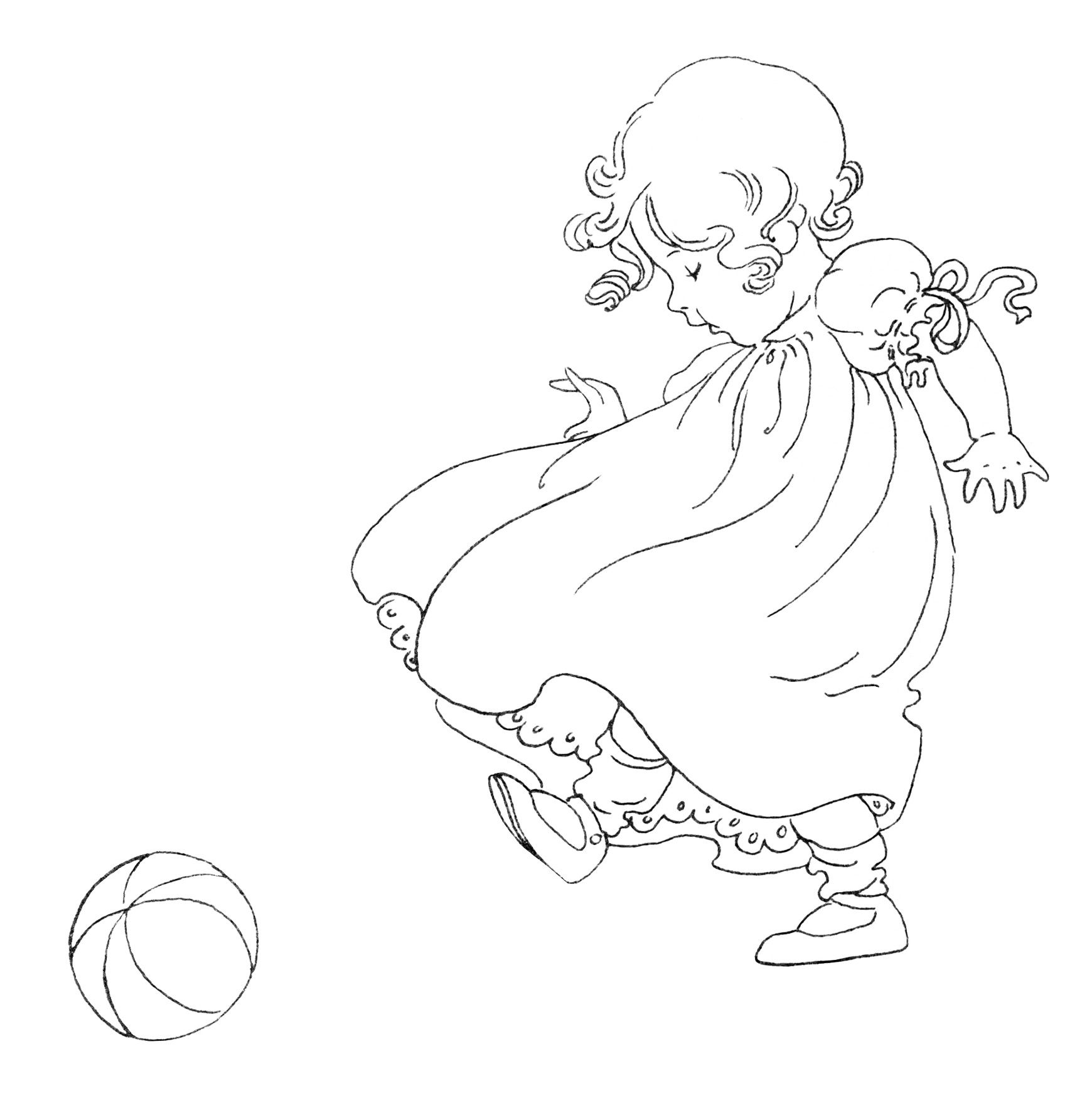 Girl Kicking Ball Vintage Baby Clip Art Black And White Clipart Free Child Image Antique
