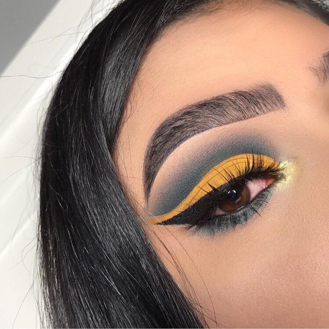 Yellow mustard and Smokey eye make up , beautiful eye makeup ideas