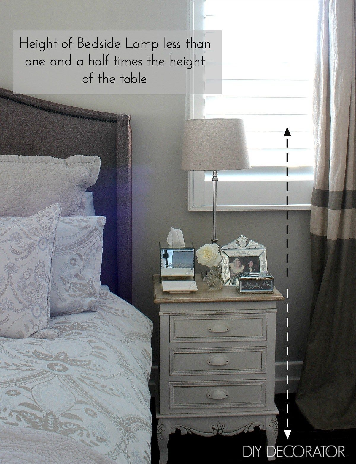 What Is The Right Bedside Lamp Height Diy Decorator Bedroom Side Table Lamps Bedside Lamp Side Tables Bedroom