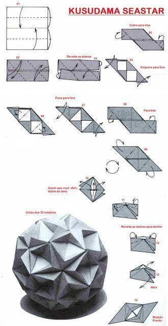 Origami Kusudama Starsea-Diagrama - #Kusudama #Origami #StarseaDiagrama