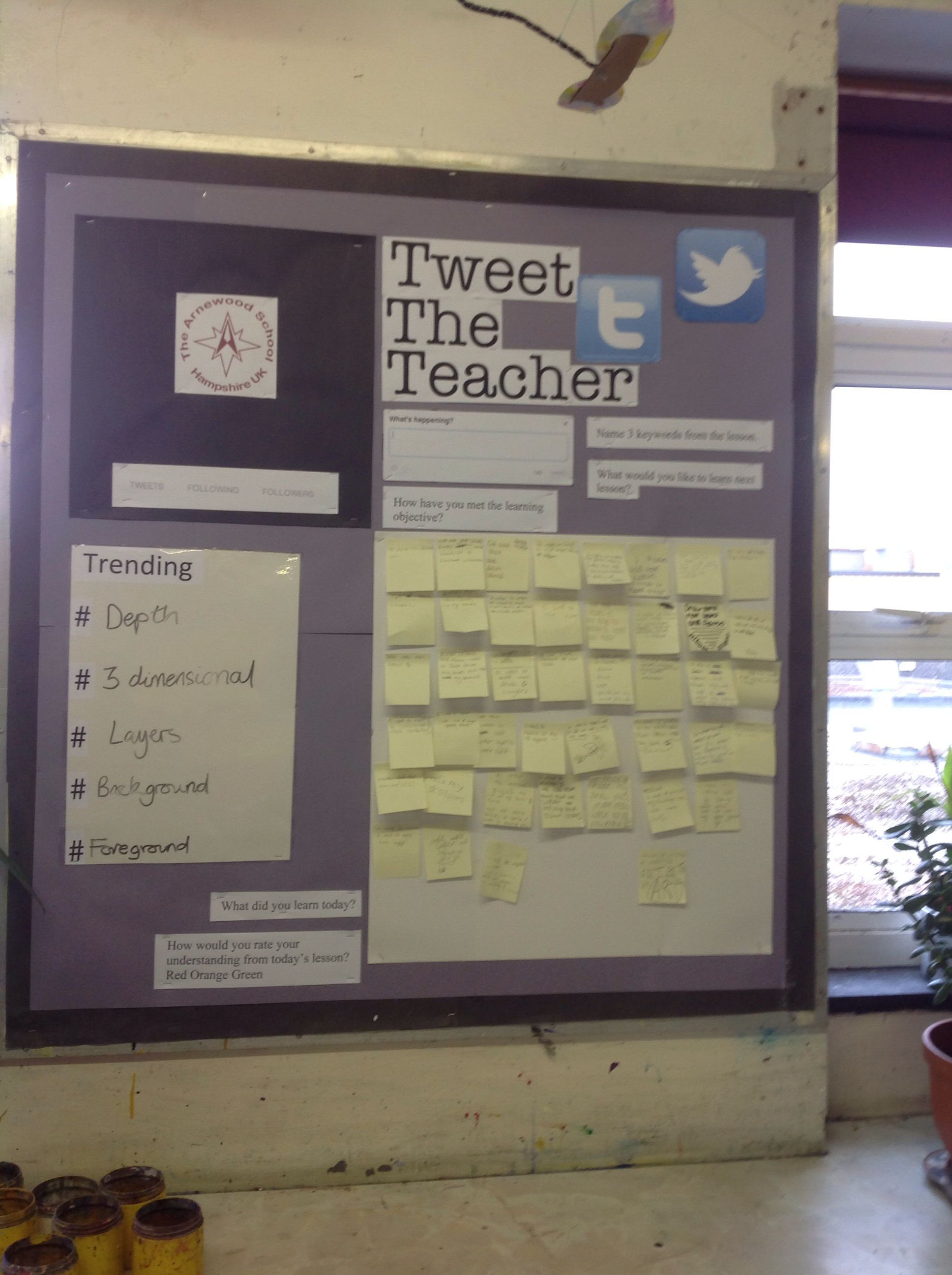 Twitter display board - tweet the teacher. Used for feedback and ...