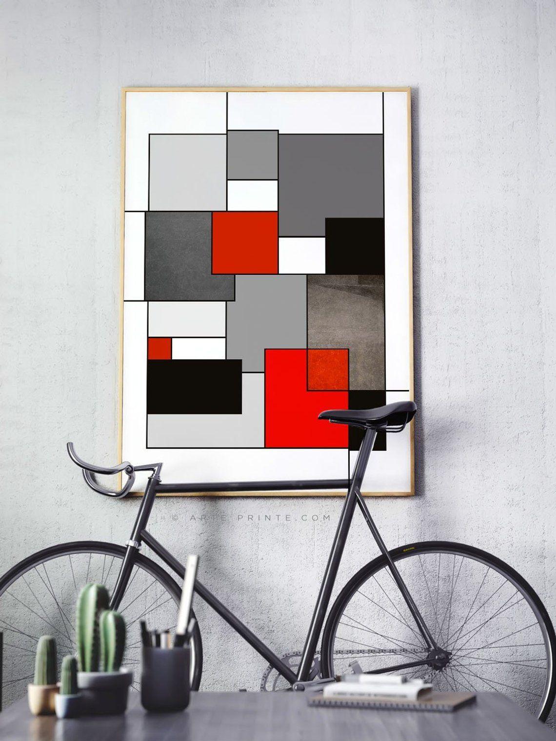 Abstract geometric wall art yellow black gray modern wall