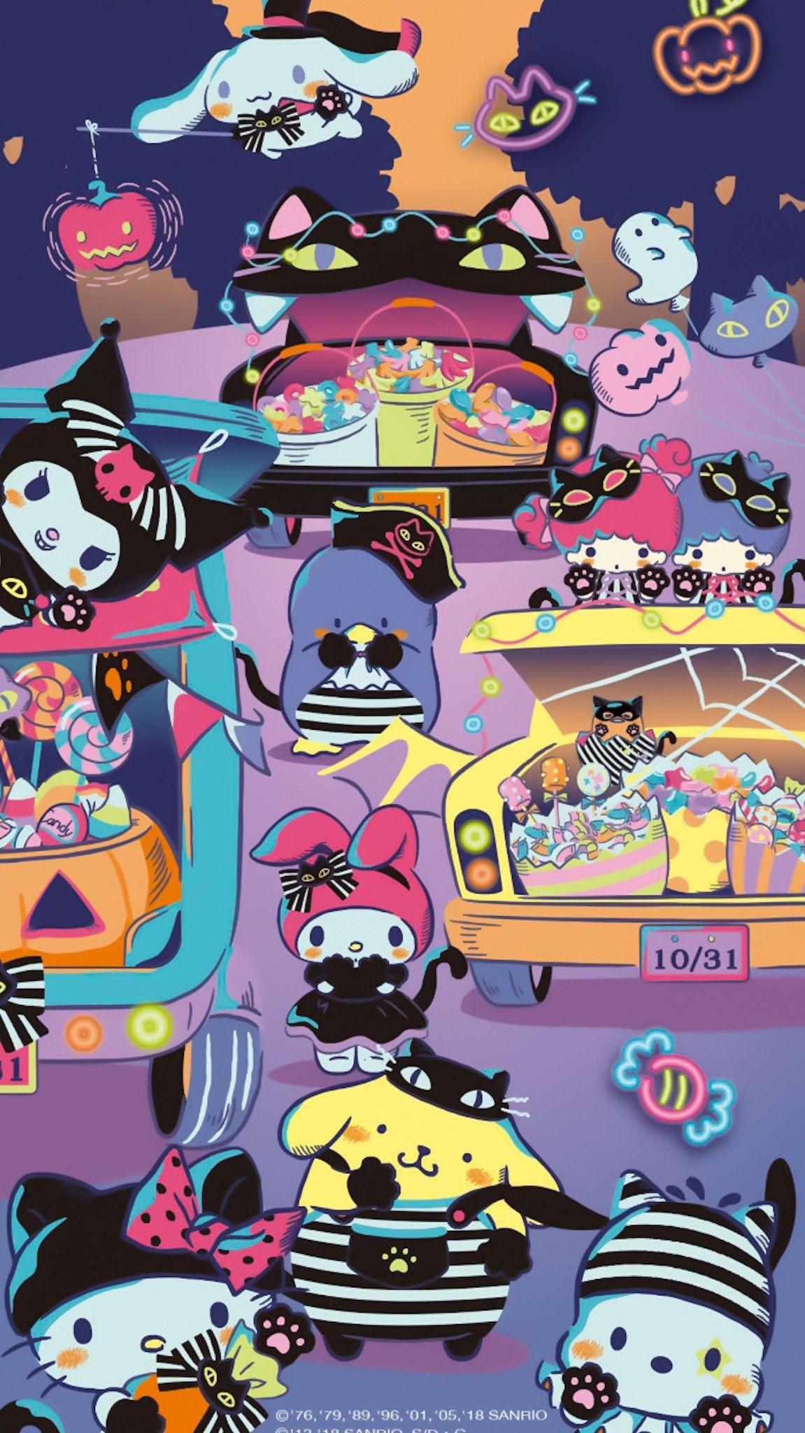 Pin By Sai On Candyland Kawaii Halloween Cute Cartoon Wallpapers Hello Kitty Halloween