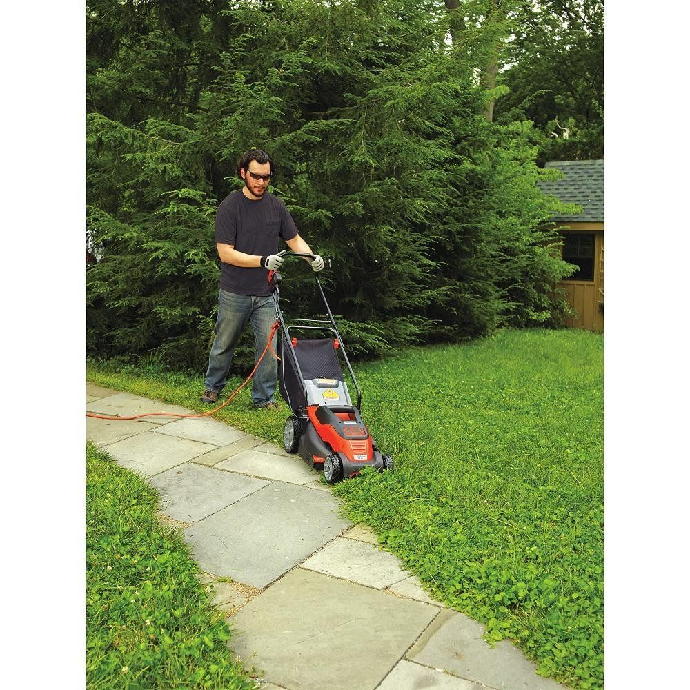 Black Decker Em1500 15 Inch Corded Mower With Edge Max 10 Amp Lawn Mower Black Decker Electric Mower