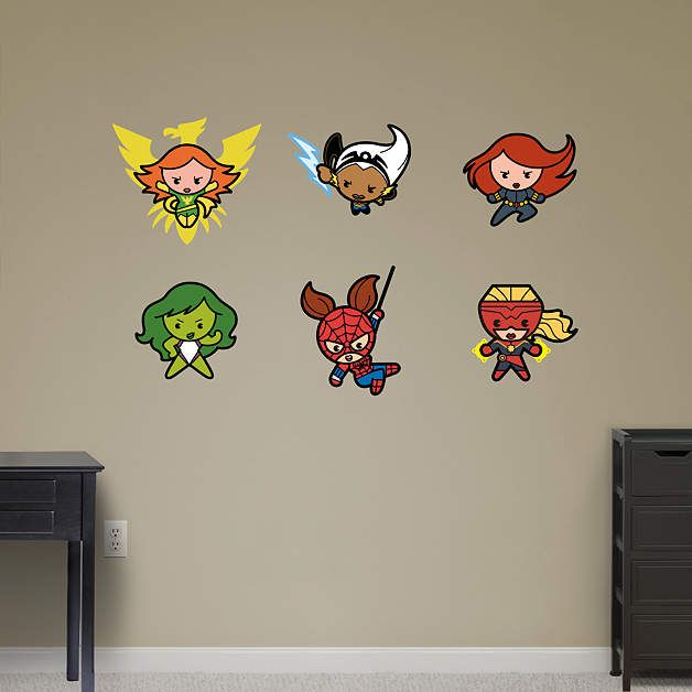 Kawaii Marvel Girl Superheroes Collection Fathead Wall Decal - Superhero wall decals for girls